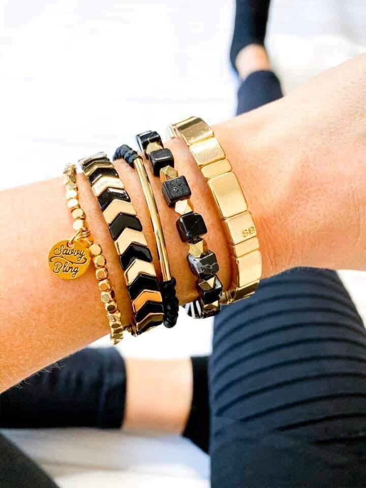 Lorena Black & Gold Bracelet Stack Set