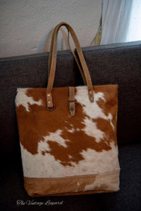 Myra Cowhide Leather Chestnut Tote Bag