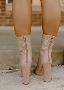 Tania Maple Nude Croc Booties