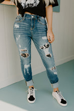 Judy Blue Denim & Leopard Distressed Skinny Jeans