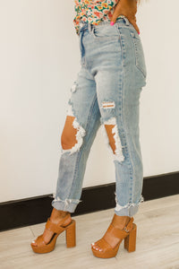 Jess High Rise Light Blue Crop Jeans