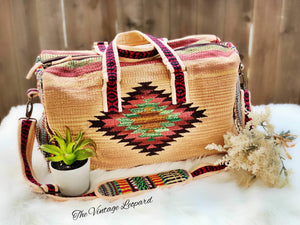 Beige Multi Boho Aztec Boston Duffle Bag