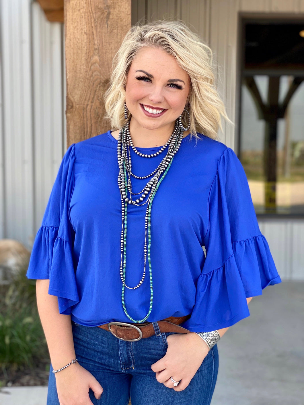 Stacie Royal Blue Ruffle Blouse