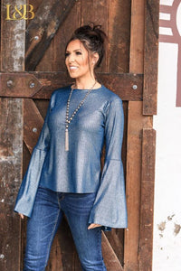 Metallic Blue Bell Sleeve Top