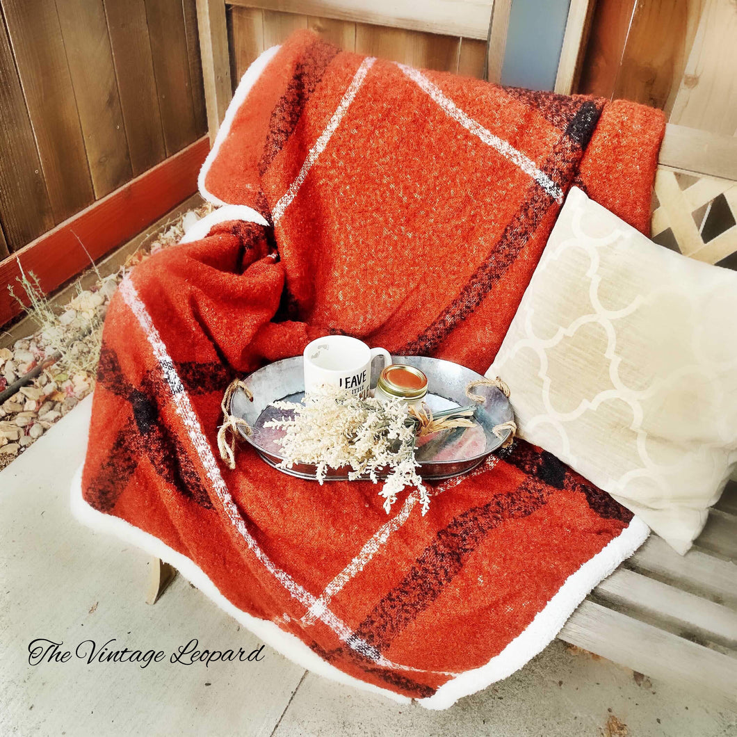 Rust Plaid Sherpa Throw Blanket