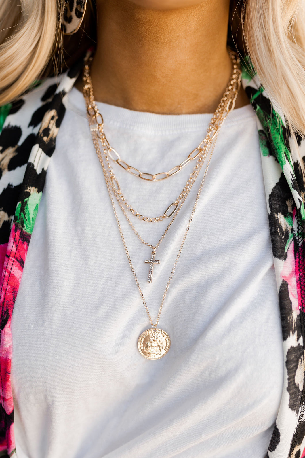 Khloe Cross & Coin Layered Chain Necklace