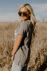 America Wild & Free Distressed Grey Tee