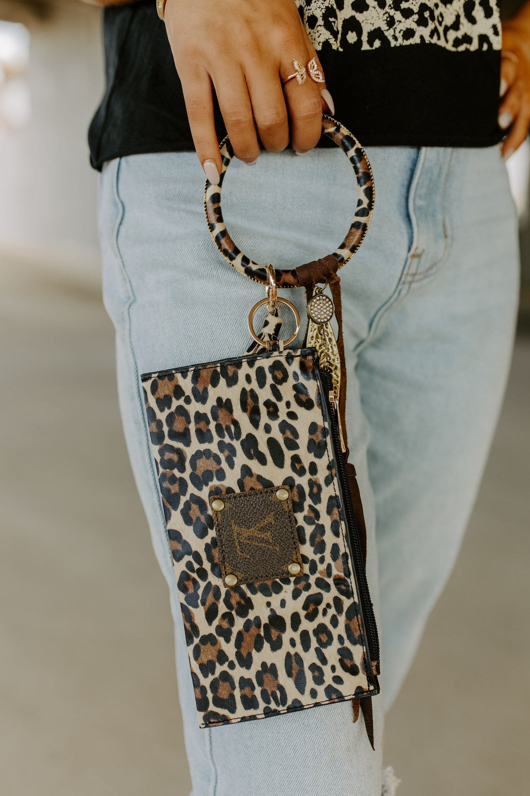 Upcycled Tan Leopard Bangle Keychain Bracelet & Wristlet Set