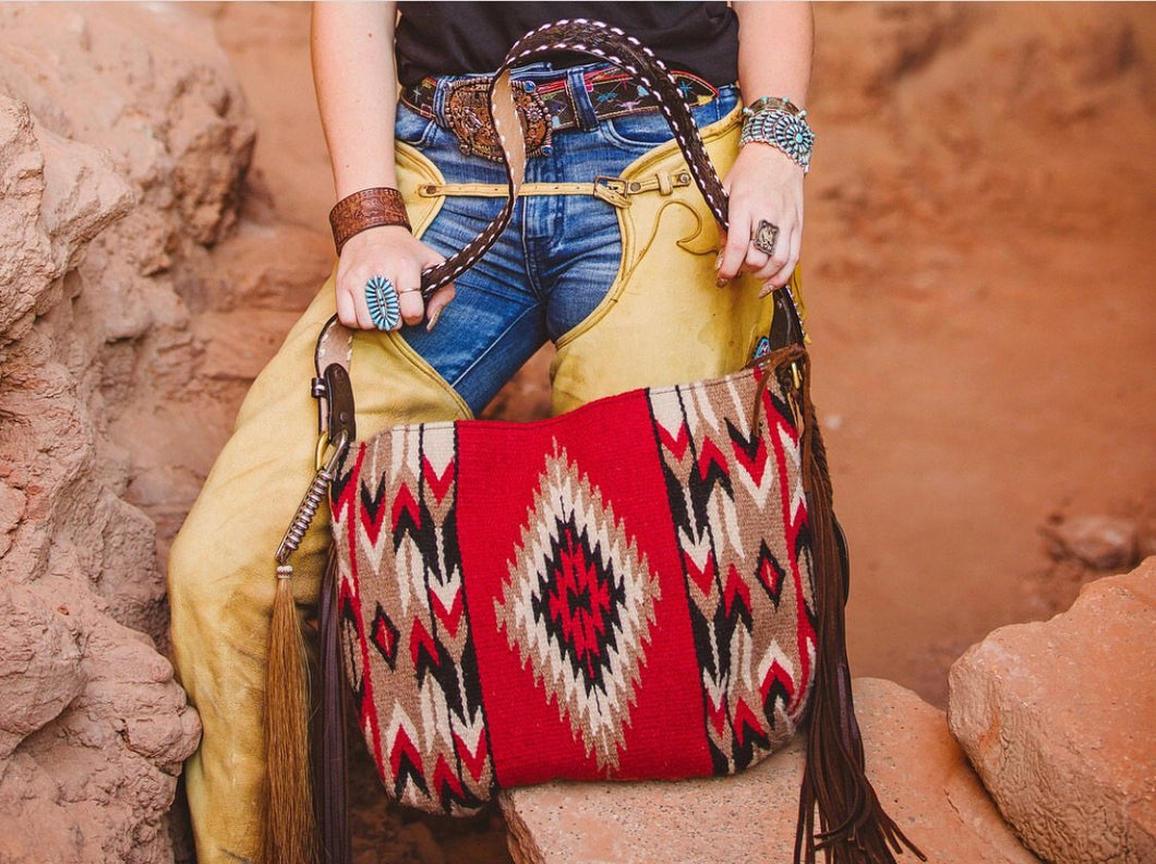 Albuquerque Red Vintage Saddle Blanket & Leather Fringe Handbag