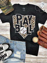 Load image into Gallery viewer, Leopard Home Plate BASEBALL Vintage Black Tee