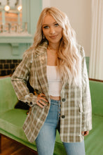 Clueless Sequin Plaid Blazer - Sage