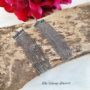Gunmetal Rhinestone Stringed Earrings