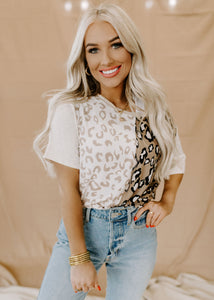 Kennedy Oatmeal & Taupe Leopard Top