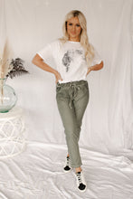 Load image into Gallery viewer, London Fog Faded Olive & Glitter Joggers