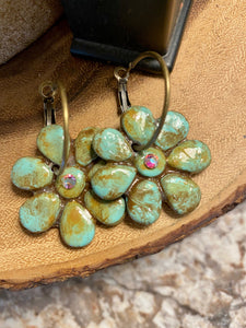 Hippy Chic Distressed Turquoise Hoop Earrings