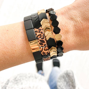 Trixie Leopard & Black Bracelet Stack Set