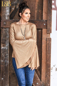 Metallic Gold Bell Sleeve Top