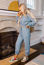 Dusty Blue Hoodie Crop Top & Bottom Lounge Set