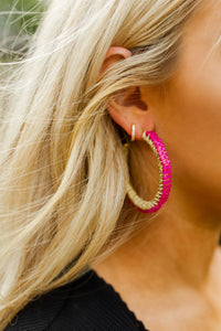 Camel Threads Beaded Pink Hoop Earrings