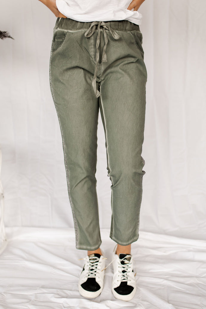 London Fog Faded Olive & Glitter Joggers