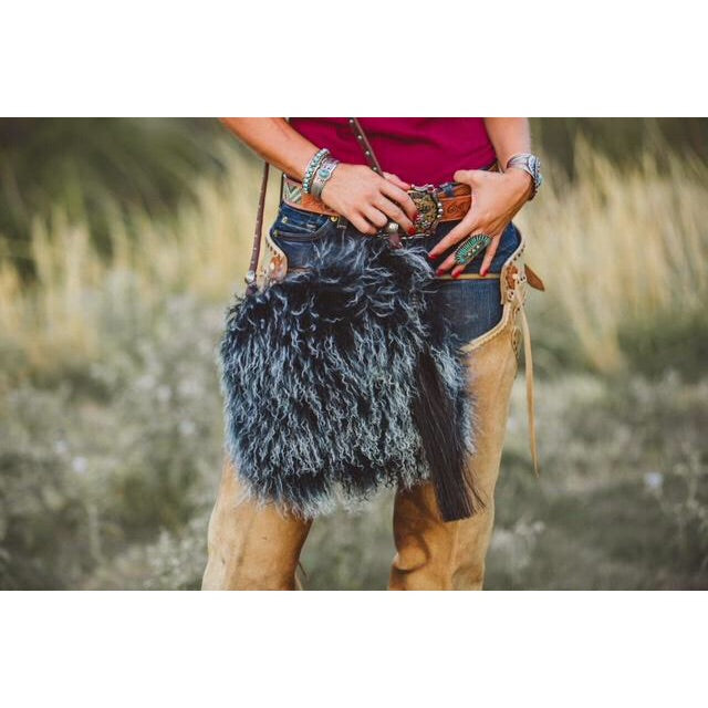 Espuela Woolie Black Frost Tip Angora Hair & Leather Purse Crossbody
