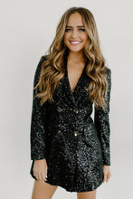 Load image into Gallery viewer, Meet Me At Midnight Black Sequin Blazer