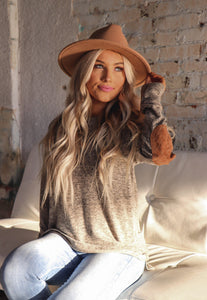 Mocha & Suede Elbow Patch Tunic Top