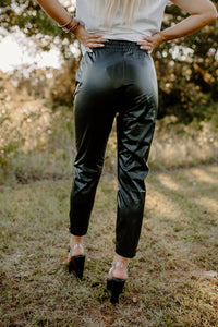 Licensed To Chill Faux Leather Black Pants