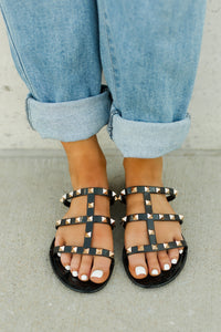 Black Joanie Gold Stud Jelly Slide Sandals