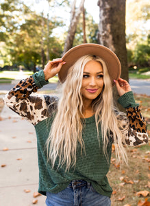 Hunter Green & Leopard Paisley Sleeve Top