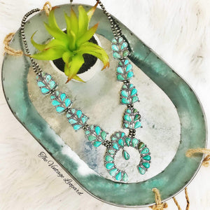 Natural Turquoise Tommy Squash Blossom Necklace