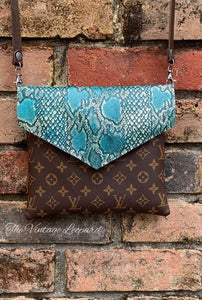 Alexa Upcycled LV & Leather TURQUOISE Python Crossbody