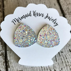 Iridescent Triangle Druzy Sparkle Stud Earrings