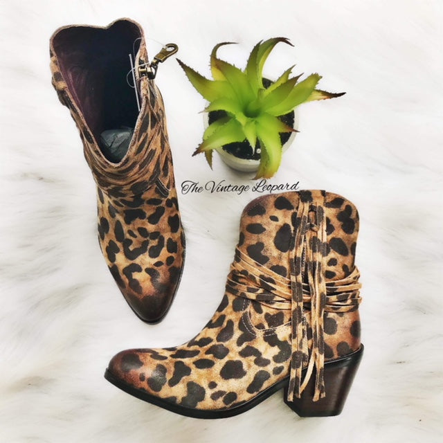 Italian Leather Faith Leopard Fringe Booties