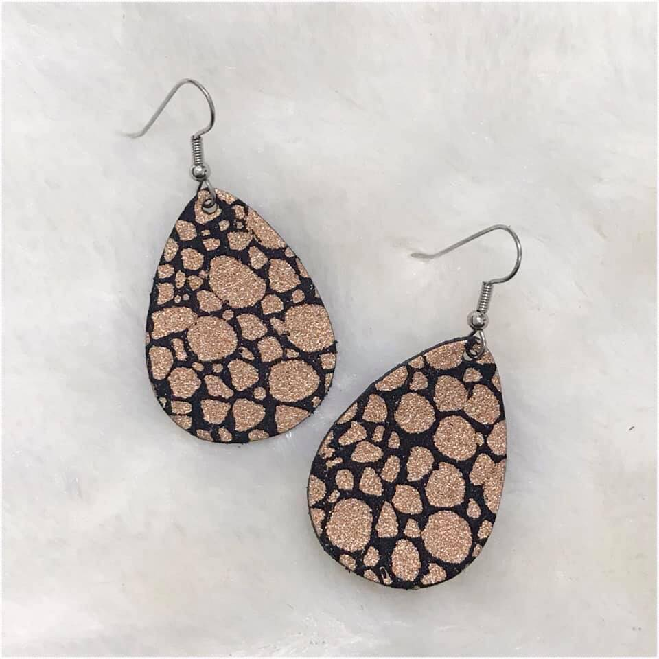Rose Gold Champagne Bubbles Leather Teardrop Bitty Earrings