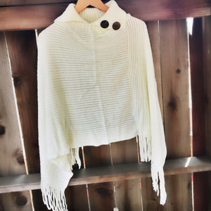 Ivory Cowl Neck Fringe Poncho With Buttons
