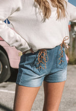 Blue Denim & Suede Lace Up Shorts