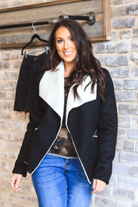 Black Faux Suede & Sherpa Coat Jacket