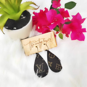 Upcycled LV & Leather Backed Teardrop Earrings
