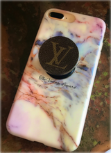 Upcycled Louis Vuitton Leather Backed Phone Jewelry Pop Stand