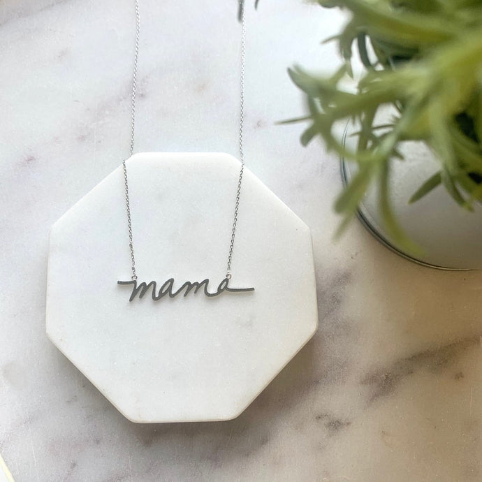 Brushed Silver Mama Necklace