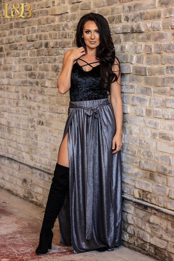 Metallic Charcoal Silver Maxi Side Slit Skirt