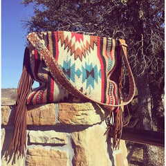Medicine Bag Vintage Saddle Blanket & Leather Fringe Handbag
