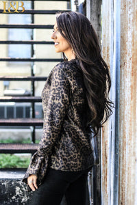 Black & Gold Metallic Leopard Ruffle Sleeve Top