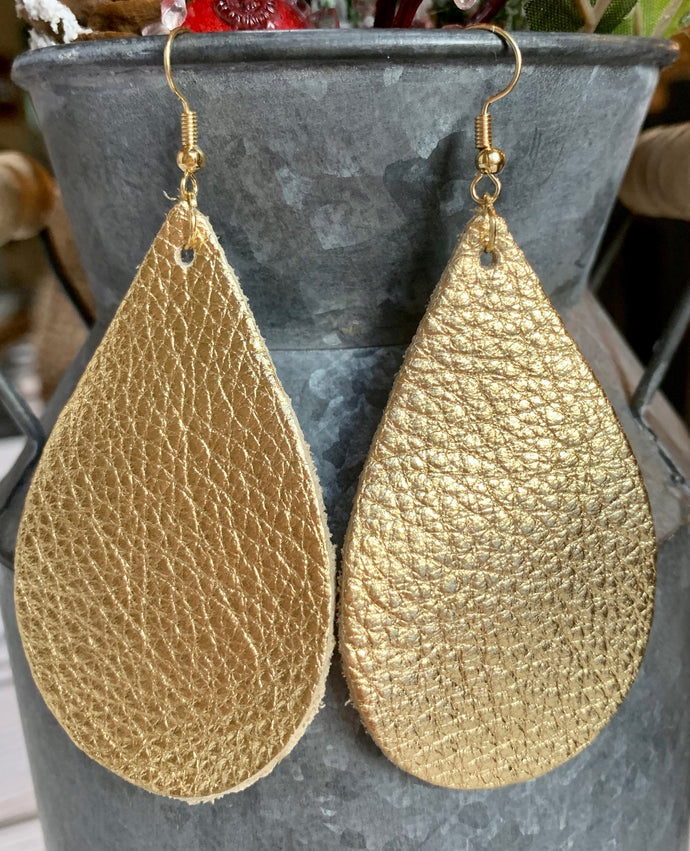 Metallic Gold Teardrop Leather Earrings