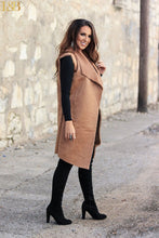 Mocha Sleeveless Faux Fur Long Vest
