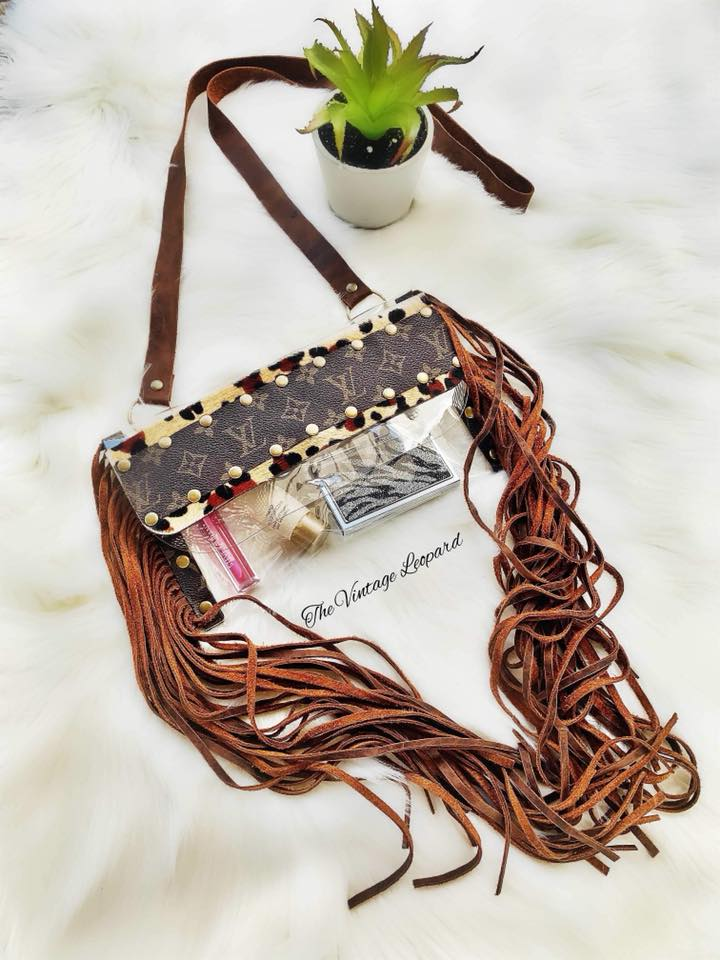 d1e95dfbd59b Upcycled Louis Vuitton Hair on Hide Leather Leopard Stadium Gameday NFR  Crossbody ...