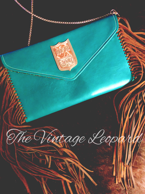 NFR 2017 Turquoise Leather Fringe Clutch Purse