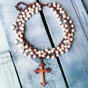 Pearl & Copper Cross Choker Necklace - The Vintage Leopard