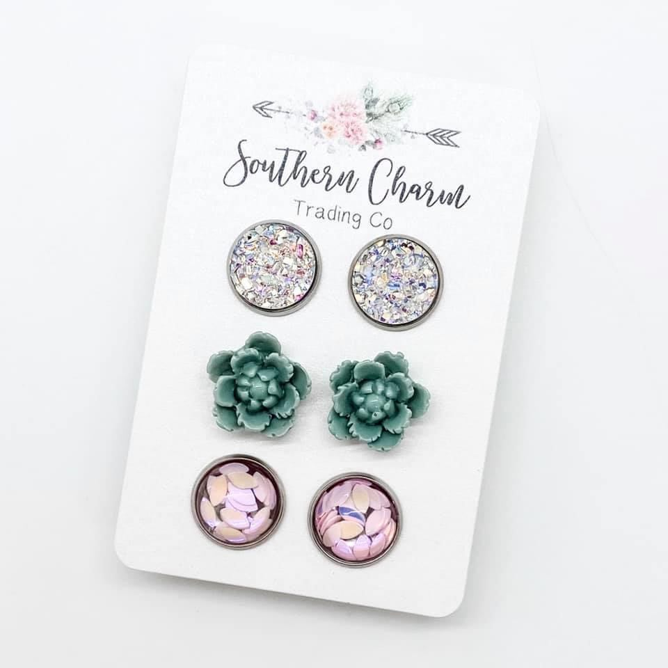 Silver Druzy Sage Flower & Light Pink Petal Earring Stud Set